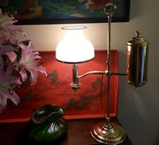 Traditional Edwardian Student Lamp Brass & Opaline