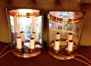 Traditional  Pair Art Deco Twin Half Wall Lanterns