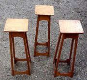 Trio Arts and Crafts Torcheres Plant Stands Oak
