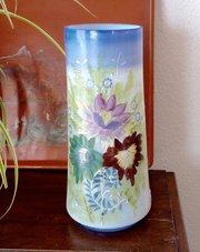 Vibrant Art Nouveau Vase Enamelled Opaline