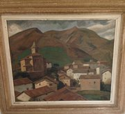 Village Basque Oil on Board Ramiro Arrue'