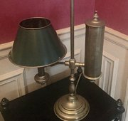 Vintage Student Lamp Brass & Green Toleware shade