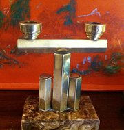 Art Deco Two Branch Candleholder Brass
