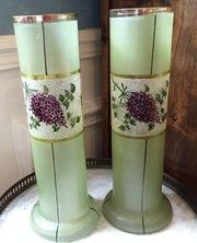 Wonderful Pair Art Nouveau Enamelled Vases
