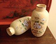 Wonderful Pair Art Nouveau Opaline Vases Enamelled