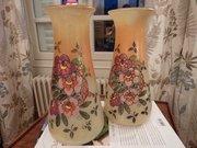 Wonderful Pair Legras Enamelled Vases Opaline 1920
