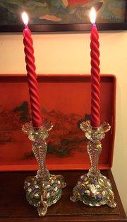 Wonderful Pair Murano Hand Painted Candlesticks