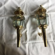Pair Large 1950 Porch Lanterns Brass Etched Glass