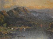 Large Oil Painting of N.Wales Lake Scene