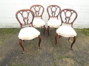 Set 4 Antique Rosewood Balloon Back Chairs