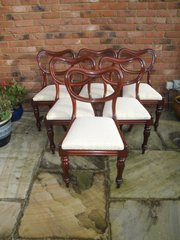 Set 6 Antique Mahogany Balloon Back Chairs