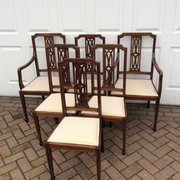 Set 6 six antique Edwardian mahogany dining chairs