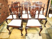 Set 8 Antique Mahogany Dining Chairs