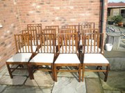 Set 12 antique oak dining chairs