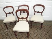 Set 4 antique mahogany balloon back dining chairs
