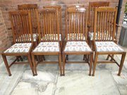 Set 8 antique oak dining chairs