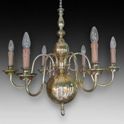 1930's Brass 6 Arm Chandelier