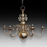 1930's Dutch 6 Arm Brass Chandelier