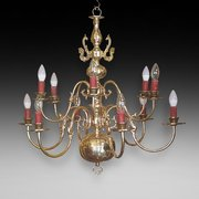 1930's Dutch Brass 12 Arm Chandelier