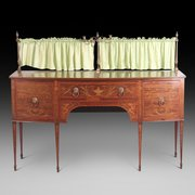 19thC Inlaid Mahogany Bow-Fronted Sideboard