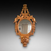19th Century gilt framed oval wall mirror