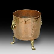 19th century copper log bin