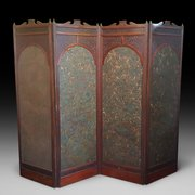 Aesthetic Period Mahogany Framed 4 Fold Screen