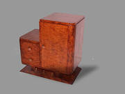 Art Deco burr walnut bedside cabinet