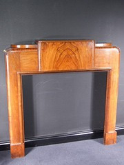 Art Deco flame walnut fire surround