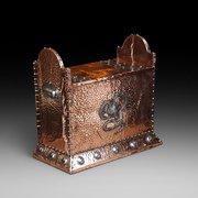 Art Nouveau copper and steel log box