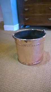 Arts and Crafts Rivetted Copper Log Bucket