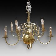 Brass 10 Arm Chandelier