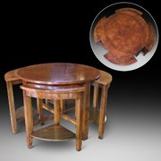Burr Walnut Art Deco Nest of 5 Coffee Tables
