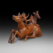 Carved teak figure of two stags