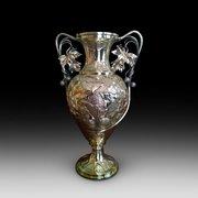 Continental Art Nouveau Brass Vase