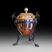 Copper Brass and Wrought Iron Coal Scuttle