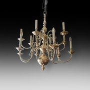 Dutch 1930's Brass Twelve Branch Chandelier