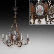 Early 20thC 6 Arm  7 Light Brass Chandelier
