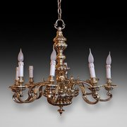 Early 20thC Brass 8 Scroll Armed Brass Chandelier