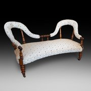 Early Victorian Rosewood 2 Seater Settee