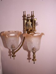 Edwardian Brass Wall Light with Apricot Frosted G