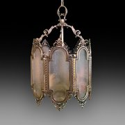 Edwardian Brass and Frosted Glass Lantern