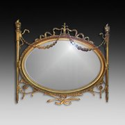 Edwardian Carved Wood and Gesso Wall Mirror
