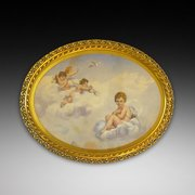 Edwardian Giltwood Oval Frame with a Watercolour