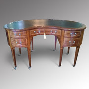 Edwardian Inlaid Mahogany Kidney Shaped Desk