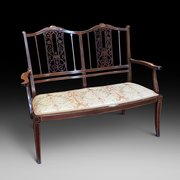 Edwardian Inlaid Mahogany Two Seater Sofa