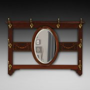 Edwardian Mahogany Combined Mirror and Hat Rack