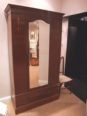 Edwardian Mahogany  Mirrored Wardrobe