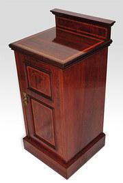 Edwardian mahogany inlaid, bedside cabinet