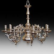 Eight branch brass chandelier